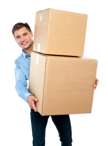 Casual man with boxes